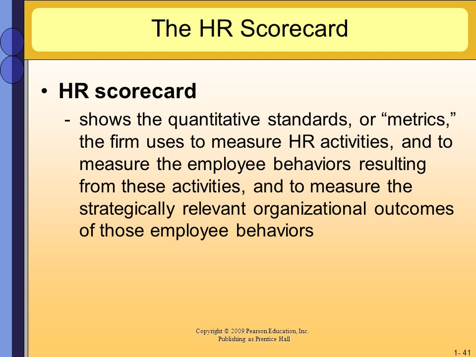 The HR Scorecard HR scorecard