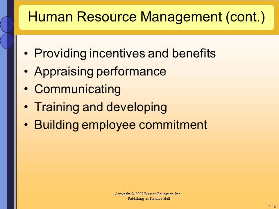 Human Resource Management (cont.)