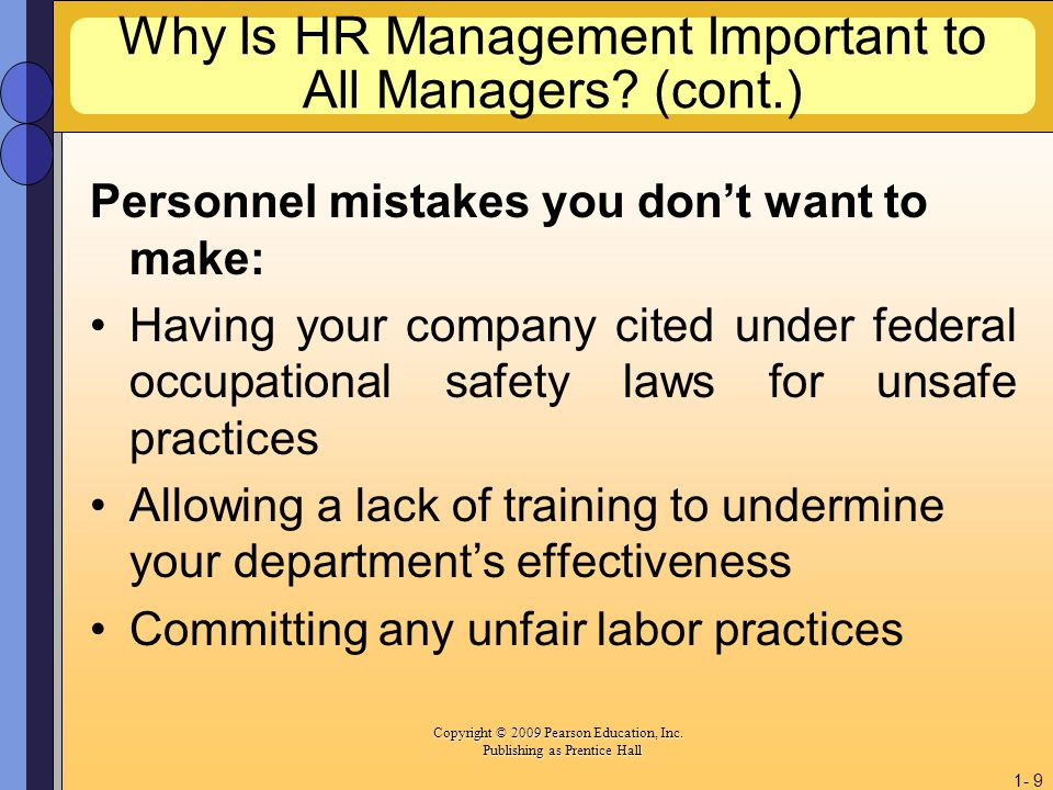 Why Is HR Management Important to All Managers (cont.)