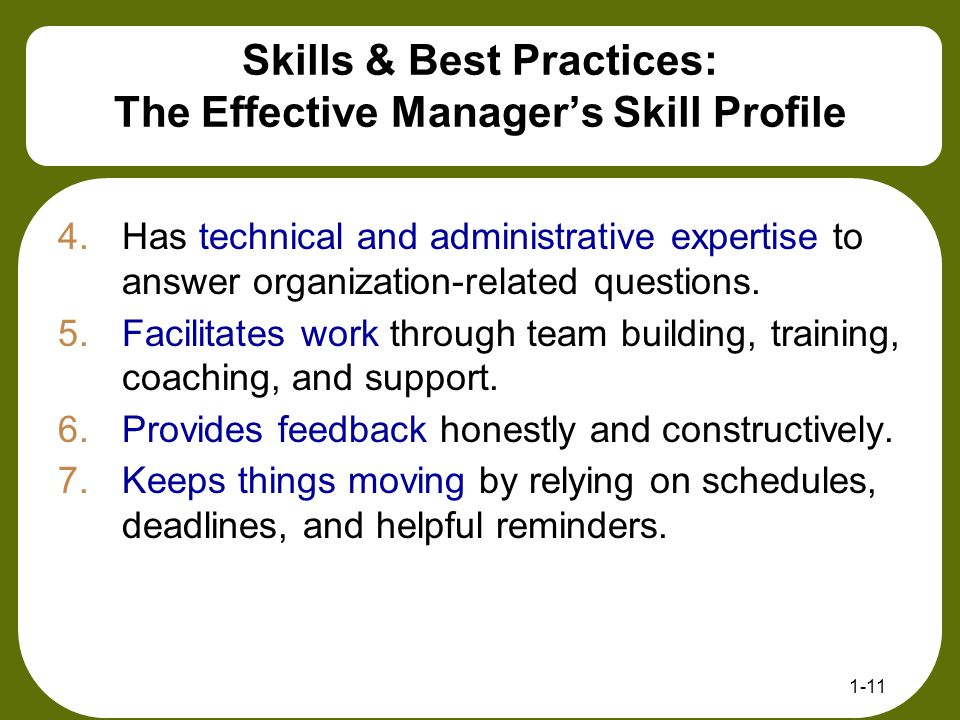Skills & Best Practices: The Effective Manager's Skill Profile
