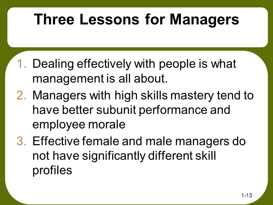 Three Lessons for Managers