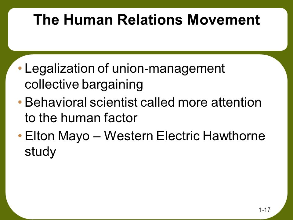 The Human Relations Movement