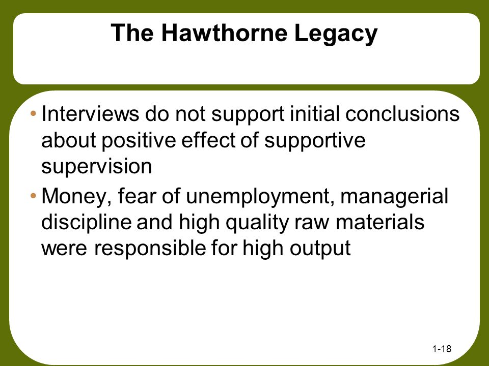 The Hawthorne Legacy Interviews do not support initial conclusions about positive effect of supportive supervision.