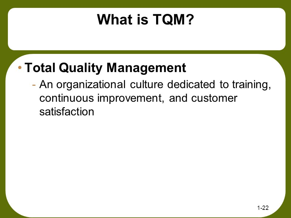 What is TQM Total Quality Management