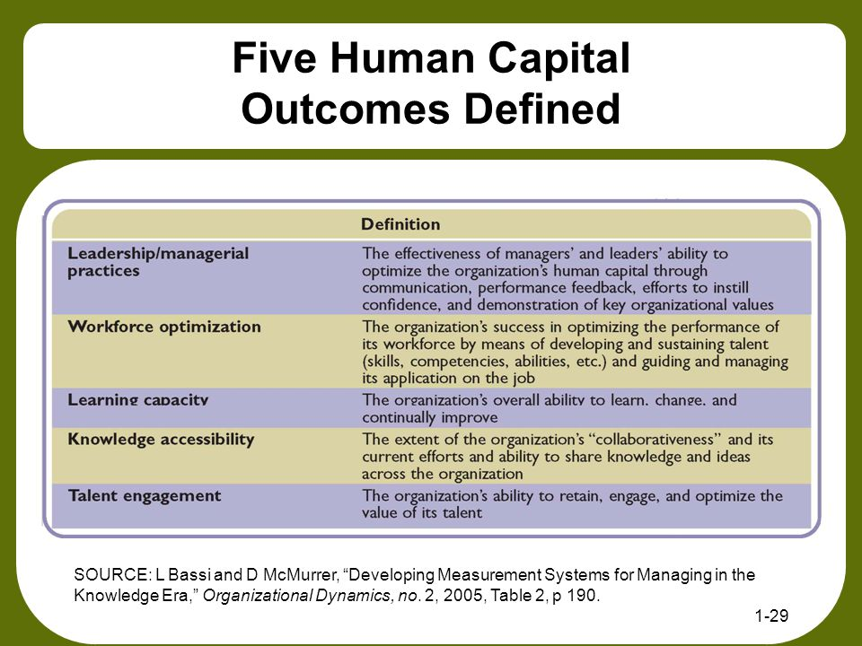 Five Human Capital Outcomes Defined