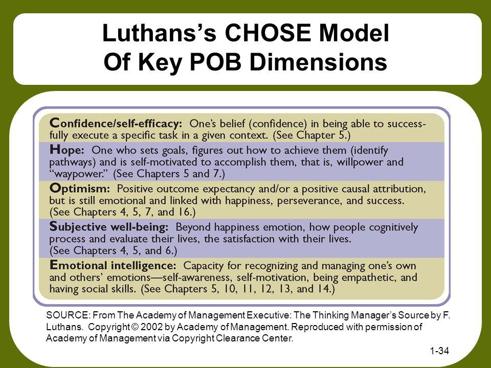 Luthans's CHOSE Model Of Key POB Dimensions