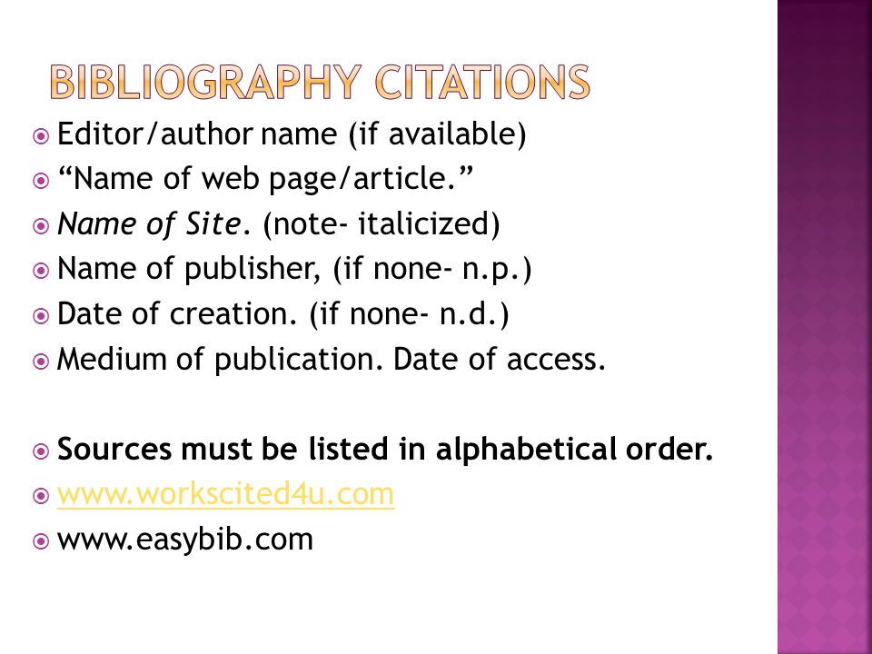 Bibliography Citations
