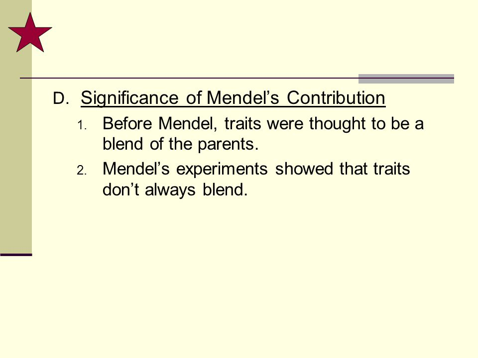 Significance of Mendel's Contribution
