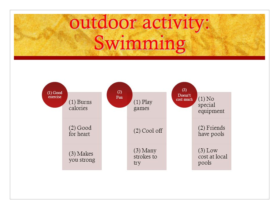outdoor activity: Swimming