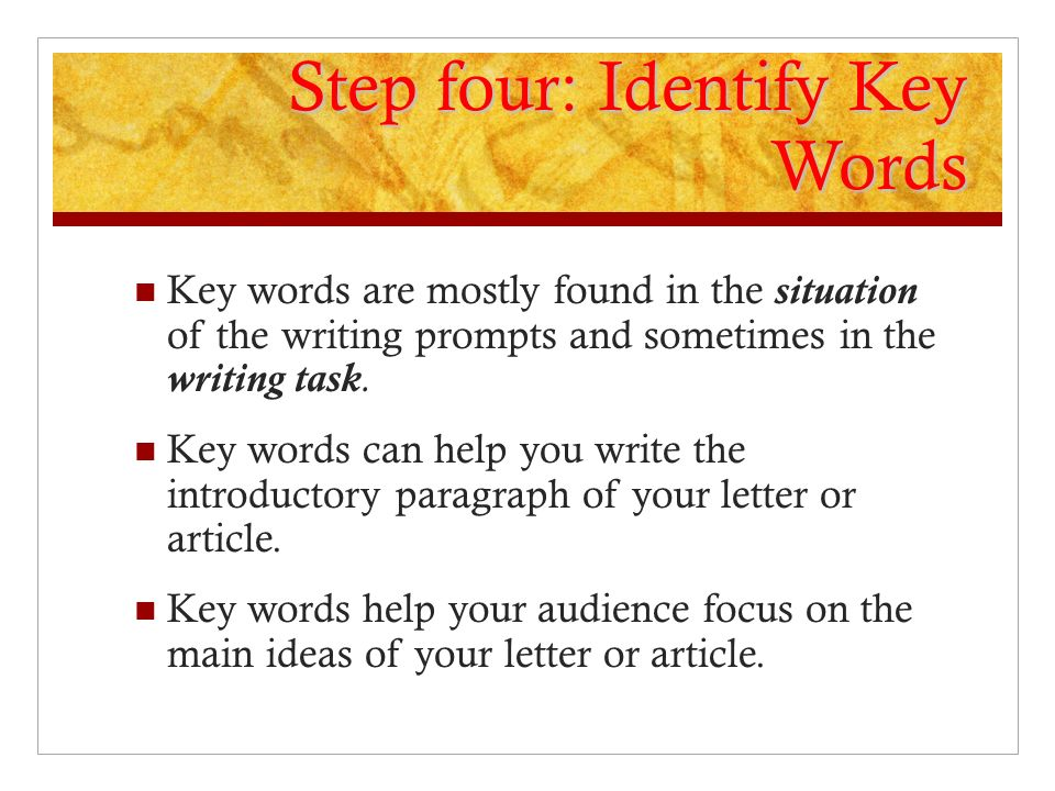 Step four: Identify Key Words