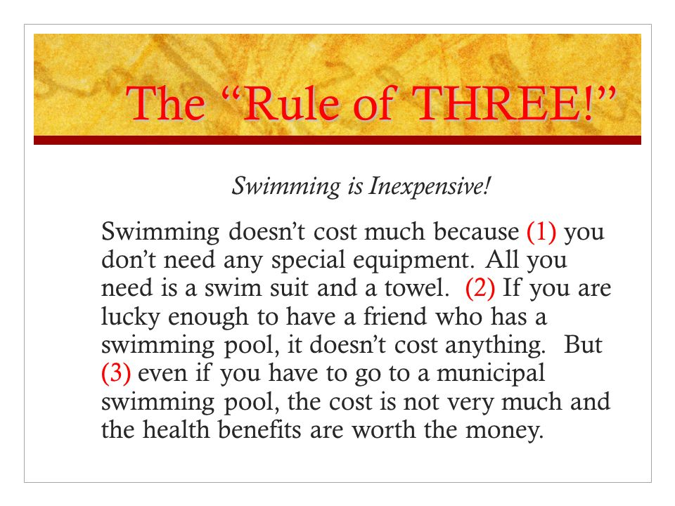 The Rule of THREE!