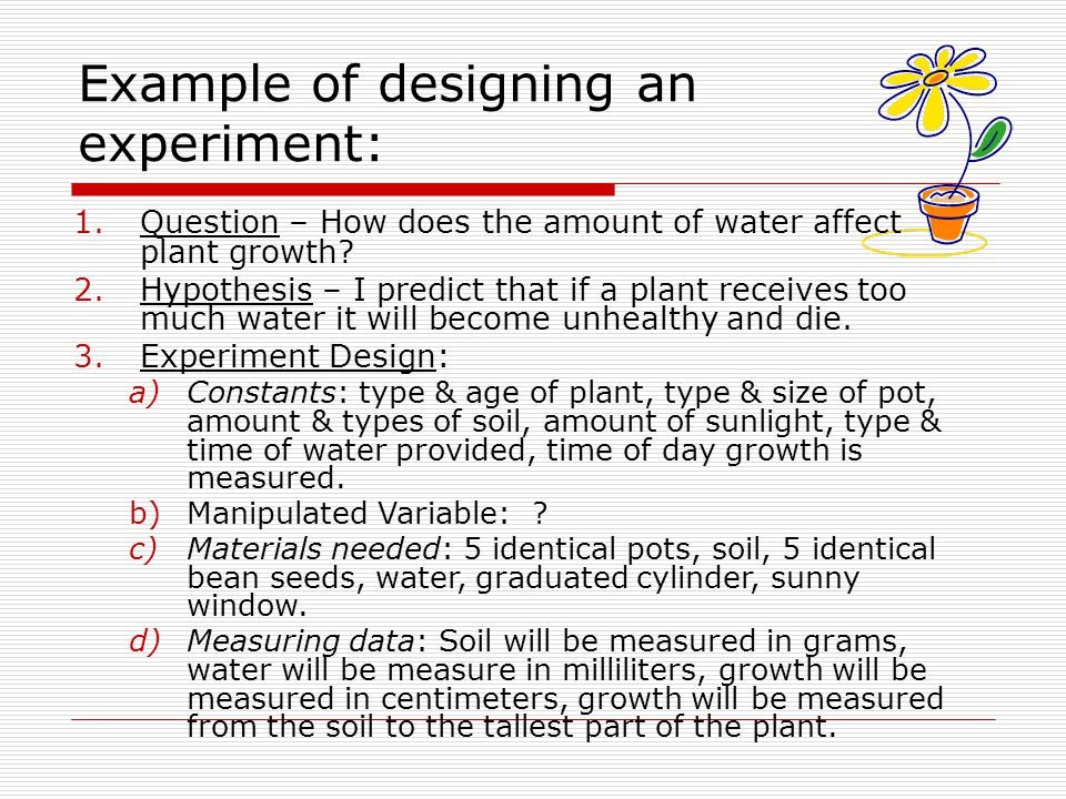 Example of designing an experiment: