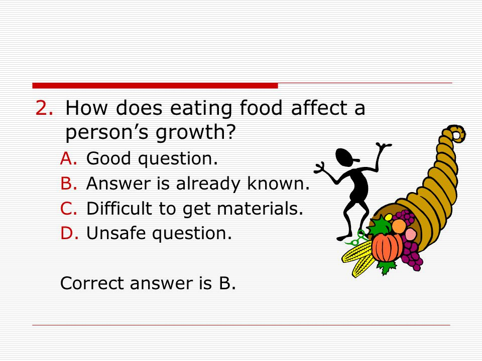 How does eating food affect a person's growth