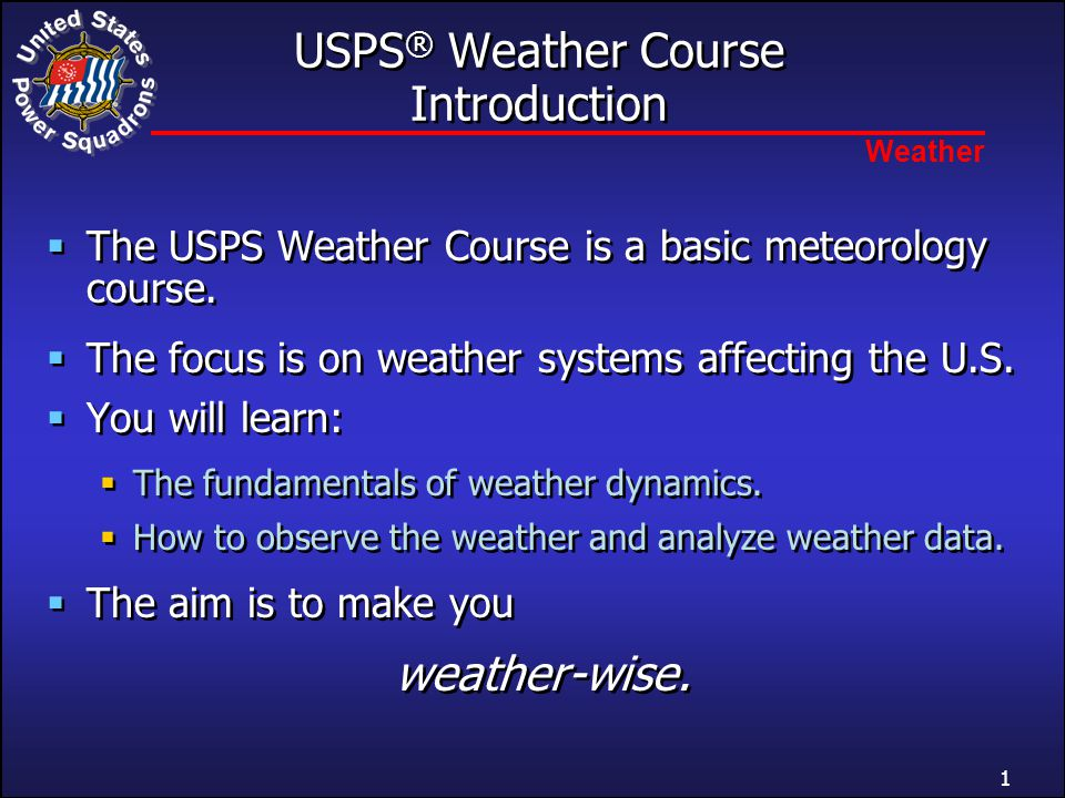 USPS® Weather Course Introduction