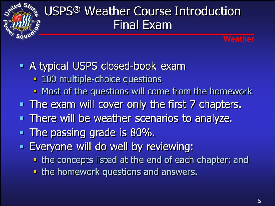 USPS® Weather Course Introduction Final Exam