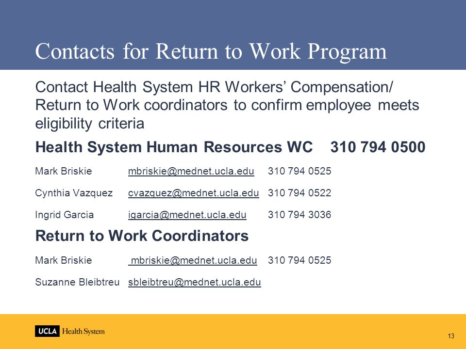 Contacts for Return to Work Program