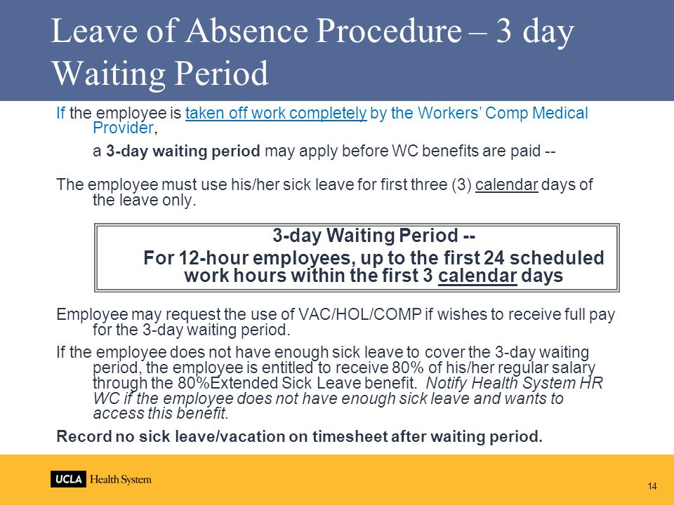 Leave of Absence Procedure – 3 day Waiting Period