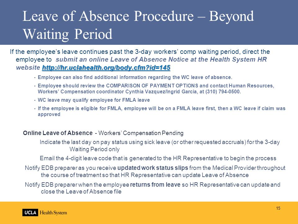 Leave of Absence Procedure – Beyond Waiting Period