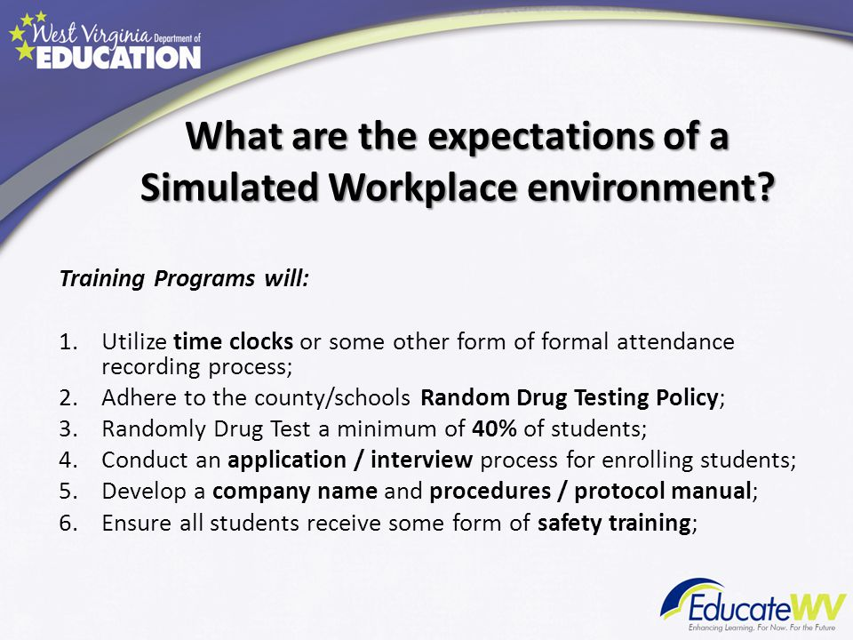 What are the expectations of a Simulated Workplace environment