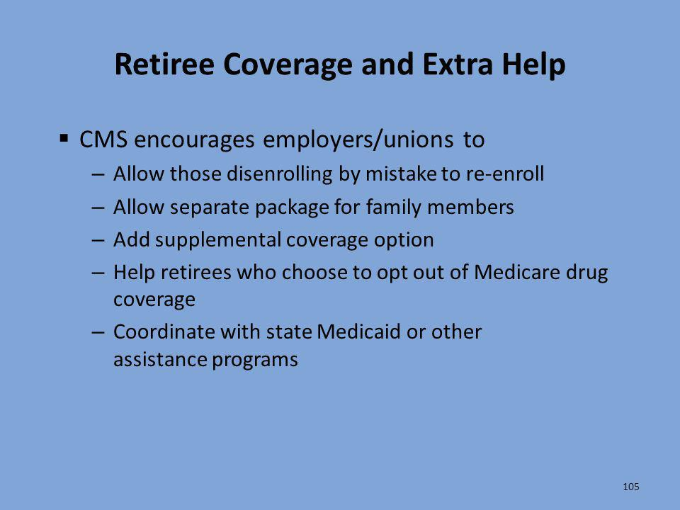 Retiree Coverage and Extra Help