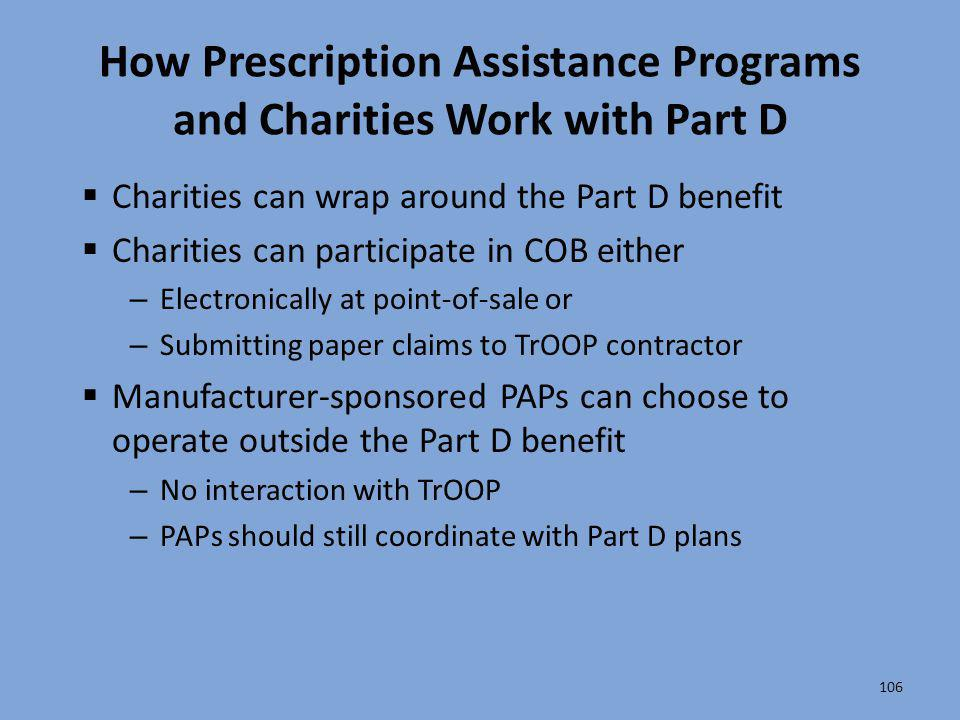 How Prescription Assistance Programs and Charities Work with Part D