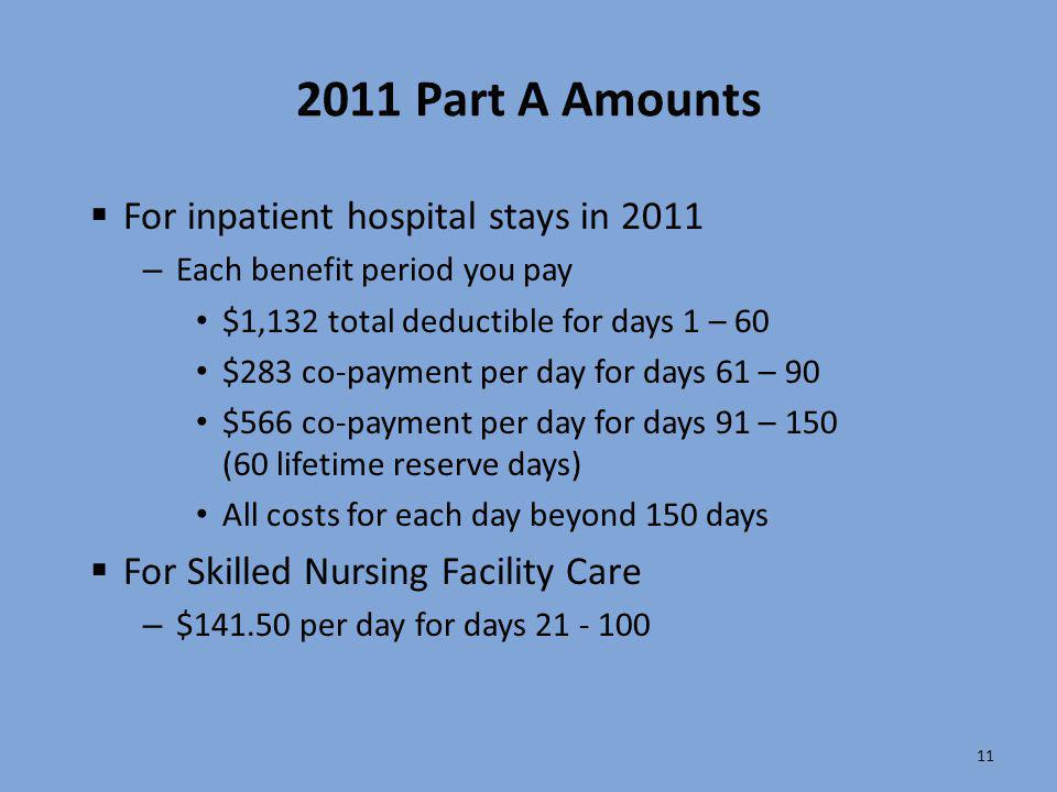 2011 Part A Amounts For inpatient hospital stays in 2011