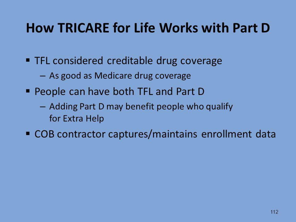 How TRICARE for Life Works with Part D