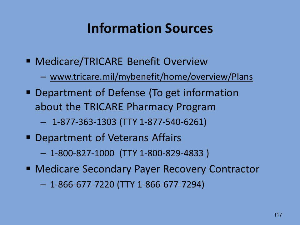 Information Sources Medicare/TRICARE Benefit Overview