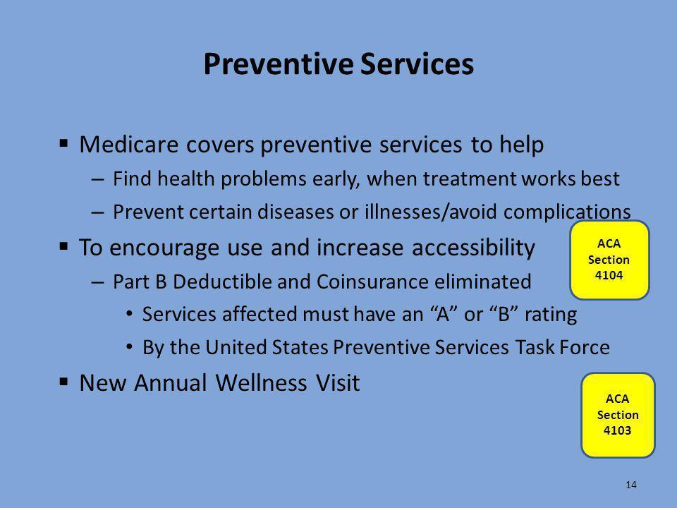 Preventive Services Medicare covers preventive services to help