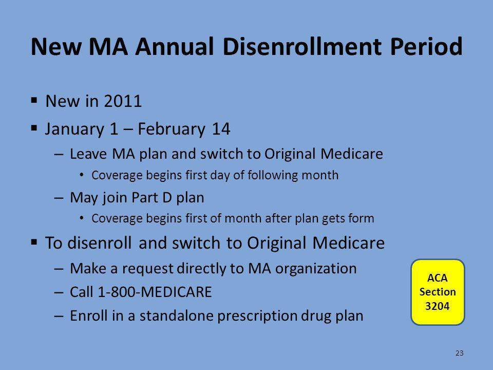 New MA Annual Disenrollment Period