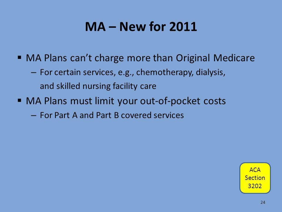 MA – New for 2011 MA Plans can't charge more than Original Medicare