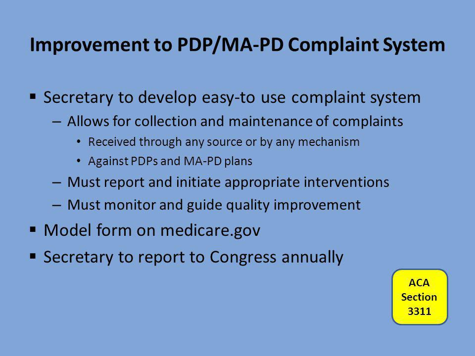 Improvement to PDP/MA-PD Complaint System