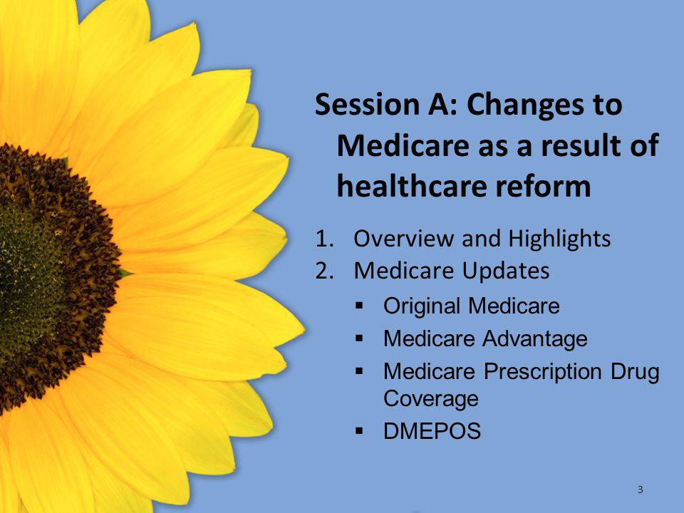 Session A: Changes to Medicare as a result of healthcare reform