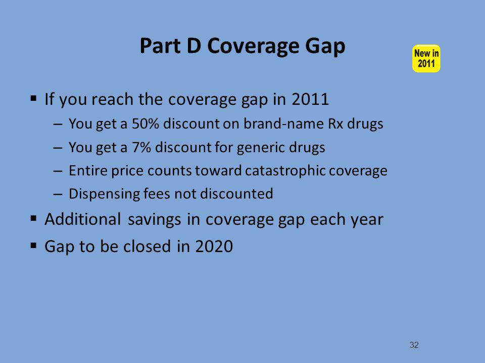 Part D Coverage Gap If you reach the coverage gap in 2011