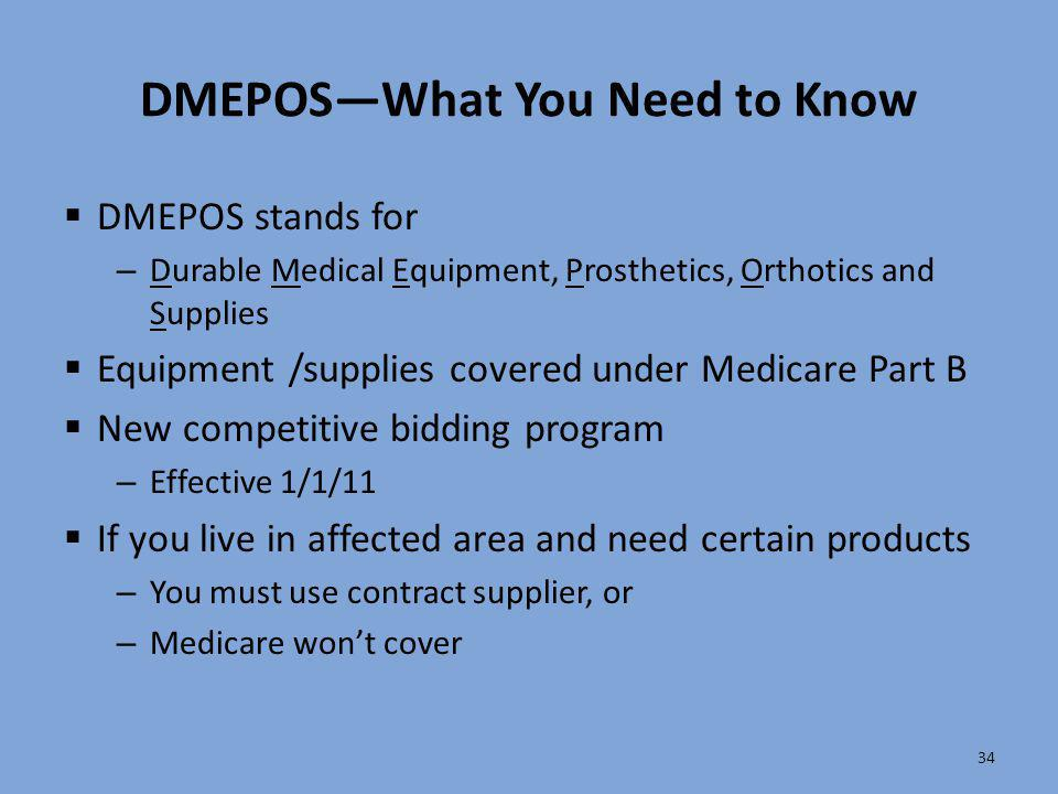 DMEPOS—What You Need to Know