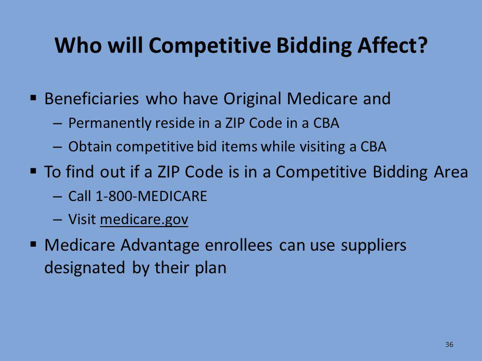 Who will Competitive Bidding Affect