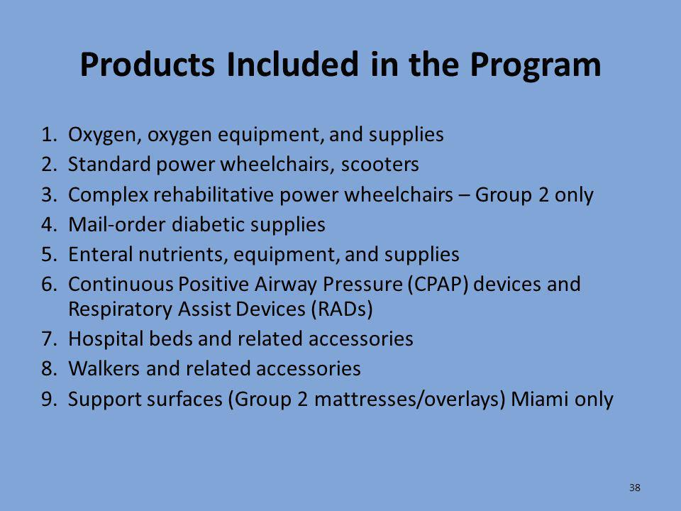 Products Included in the Program