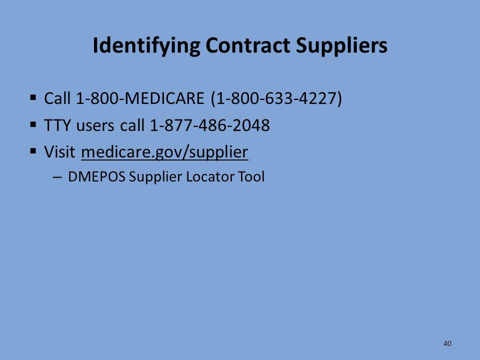 Identifying Contract Suppliers