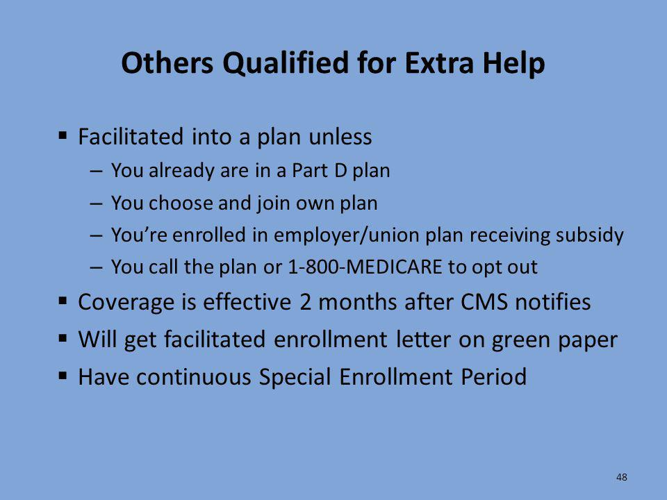 Others Qualified for Extra Help