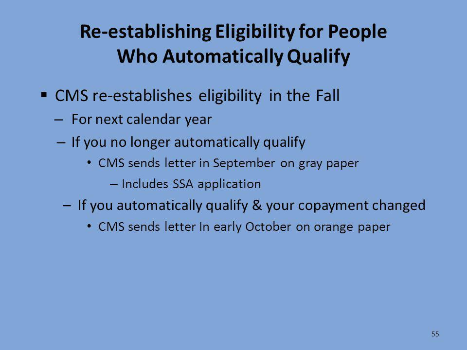 Re-establishing Eligibility for People Who Automatically Qualify