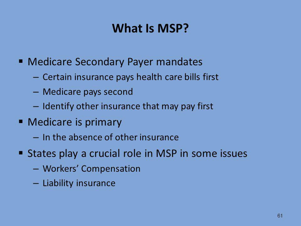 What Is MSP Medicare Secondary Payer mandates Medicare is primary