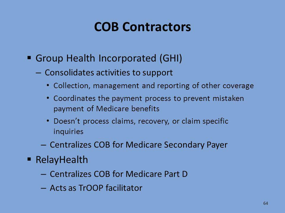 COB Contractors Group Health Incorporated (GHI) RelayHealth