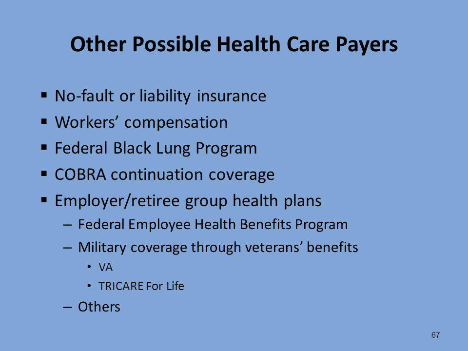 Other Possible Health Care Payers
