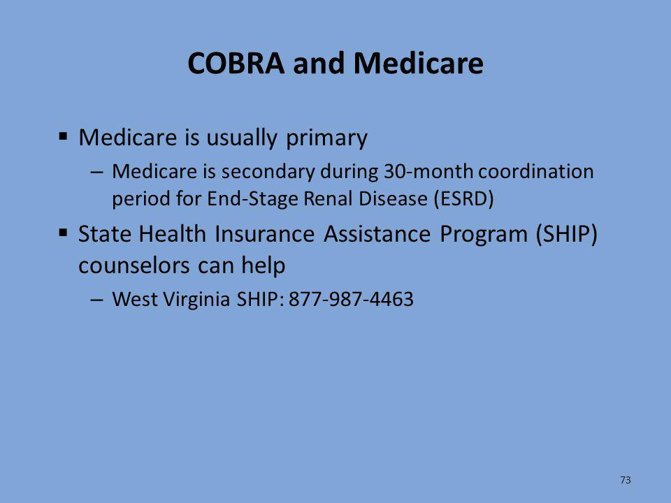 COBRA and Medicare Medicare is usually primary