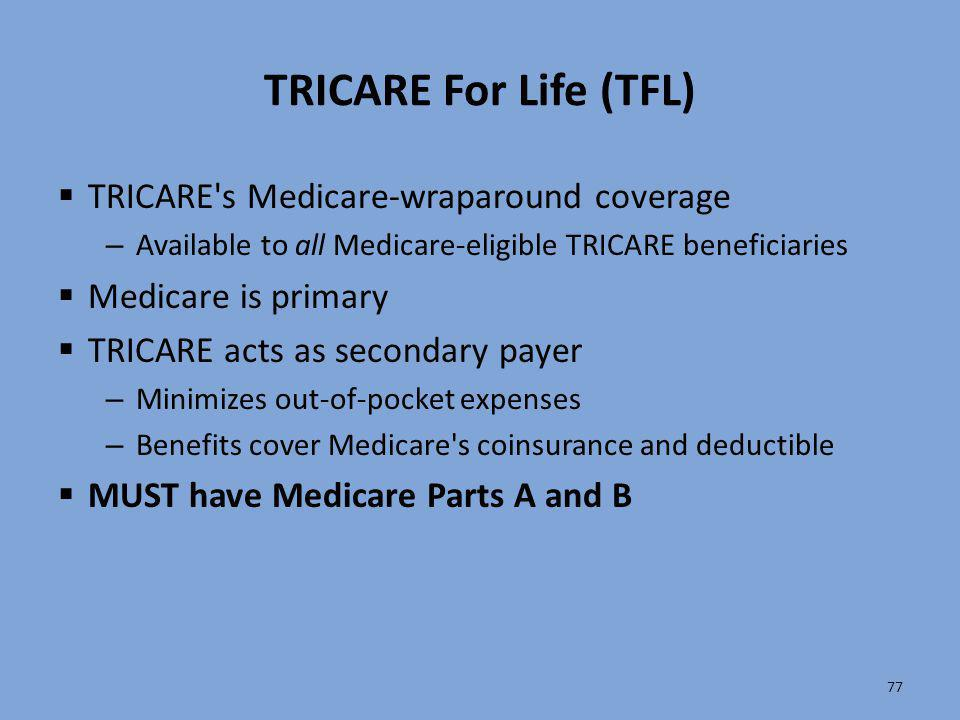 TRICARE For Life (TFL) TRICARE s Medicare-wraparound coverage