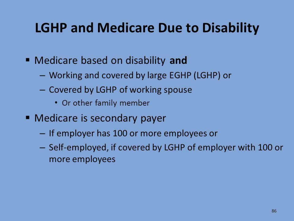 LGHP and Medicare Due to Disability