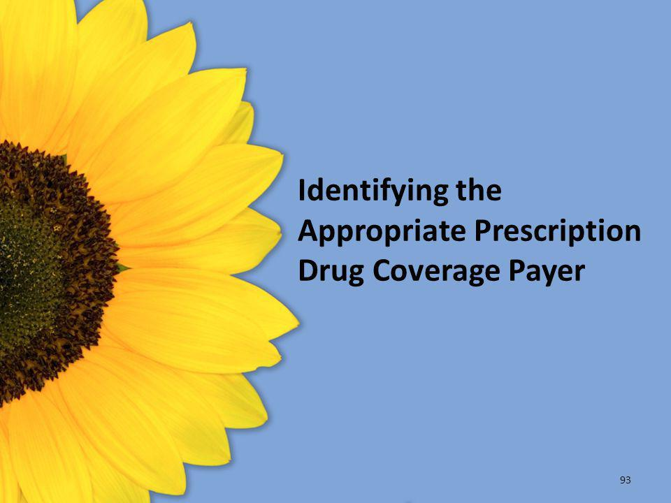Identifying the Appropriate Prescription Drug Coverage Payer