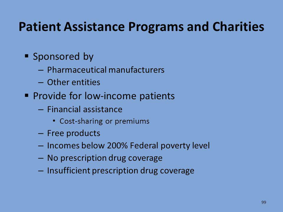 Patient Assistance Programs and Charities