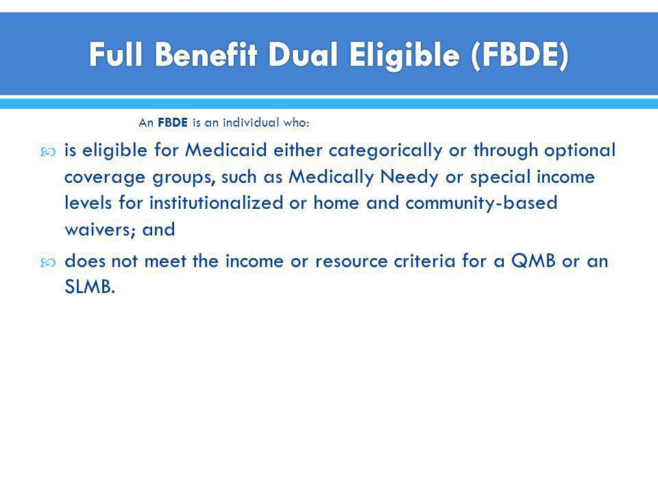 Full Benefit Dual Eligible (FBDE)