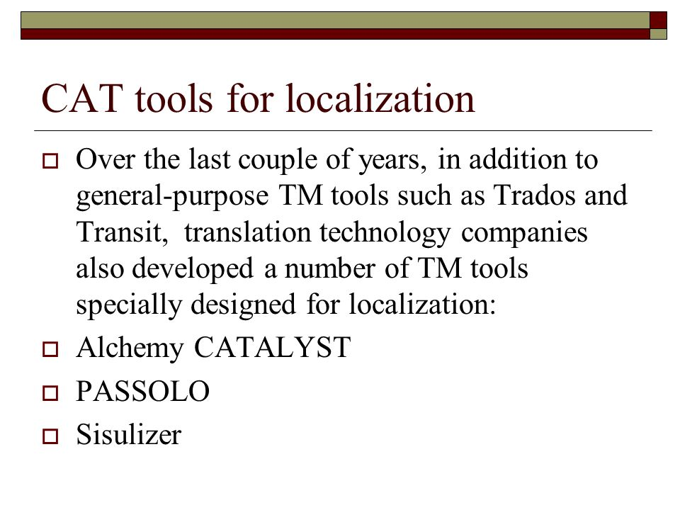 CAT tools for localization